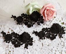 Bridal Lace Applique Embroidery Wedding Motif Black Lace Applique Trim 5 Pieces