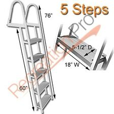 HEAVY DUTY ALUMINUM 5 STEP DOCK LADDER REMOVABLE BOARDING LADDER AL-A5