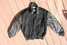 Black Leather & Wool COOPER Snap Front Varsity Style Jacket Man's Small