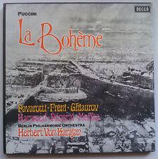 PAVAROTTI/FRENI/KARAJAN PUCCINI La Boheme Decca Box SET 2LP 565/6 NM/VG+ *TAS*