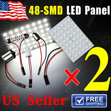 2X Pure White RV 48-SMD Panel Map Dome Light+1156 BA15S T10 Festoon BA9S Adapter