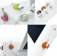 6x  Cable Drop Clip Desk Mini USB Phone Charger Holder Organiser Wire Cord Lead
