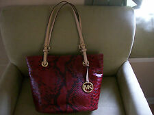 Michael Kors Jet Set Medium Tote Fashion Python Shoulder Bag MK Medallion NWT