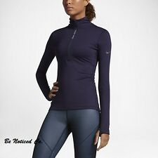 Nike Pro Hyperwarm Half-Zip Women's Training Top L Purple Gym Running New
