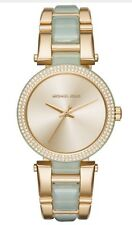 Michael Kors MK4317 Delray Ladies Crystal Aqua Acetate Bracelet Watch $275 NEW
