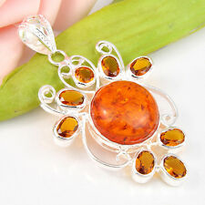 Gorgeous Handmade Golden Amber Gemstone Silver Necklace Pendant 2 1/2 Inch
