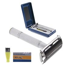 Nanjie Mens Safety Razor/Shaver Double Edge + Platinum Blades & Brush + Case