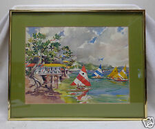 SGD & Matted Sail Boats Scenery Watercolor Painting w. Gold Metal Vintage Frame