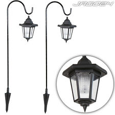 2 Solar Powered Hanging Garden Lantern Lights Shepherds Hook Pathway Lamp Decor
