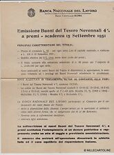 # BANCHE: lettera BANCA NAZ. DEL LAVORO PER EMISSIONE BUONI DEL TESORO ...1951