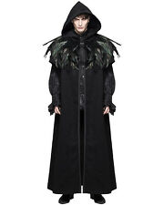 Devil Fashion Mens Cloak Coat Jacket Black Hooded Crow Feather Gothic Steampunk