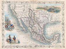 1851 TALLIS MAP MEXICO TEXAS CALIFORNIA POSTER ART PRINT 2901PY