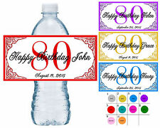 20 ~ 80th BIRTHDAY PARTY WATER BOTTLE LABELS ~ waterproof ink ~ assorted colors