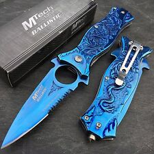 Mtech Ballistic All Blue Dragon Handle Pocket Knife with Glass Breaker