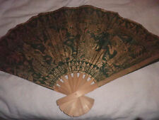 LARGE CHINESE FABRIC & WOODEN GOLD/GREEN ORIENTAL FAN/WALL HANGING/FIRE SCREEN