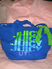Juicy couture gen Y canvas tote repeat blue green zippered closure YHRUO029 bow