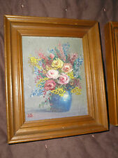 2 Vintage Chic Tiny Small Oil Painting Signed Vase Flowers 3 3/4 x 5