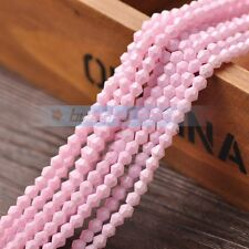 150pcs 4mm Bicone Faceted Glass Charms Loose Spacer Beads Findings Light Pink