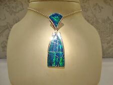 LARGE Long BLACK Rich blue Fire Opal UNISEX PENDANT $280 Sterling Silver 925