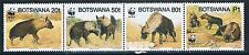 Botswana 1995 Endangered Brown Hyena set of 4 with WWF Panda Logo MNH