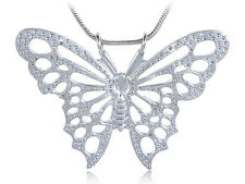 Big Silver Tone Crystal Rhinestone Butterfly Statement Fashion Necklace Pendant
