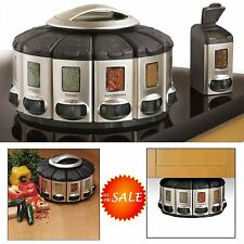 Auto-Measure Spice Jar Rack Rotate Carousel Storage Holder Mount Cabinet Kitchen