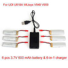 6pcs 3.7V 600mAh Battery+JST 6in1 Plug Charger For UDI U818A U817A U817C Drone