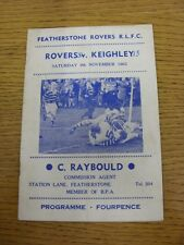 09/11/1963 Rugby League Programme: Featherstone Rovers v Keighley  (folded, scor