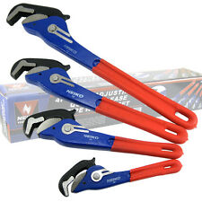 """4 Pc Neiko Self Adjusting Quick Release Pipe Wrench Set 10"""", 14"""", 18"""", 24"""""""