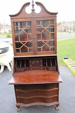Antique Chippendale Secretary Fold Down Desk with Bookcase from Philadelphia, Pa