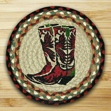 """COWBOY BOOTS 100% Natural Braided Jute Swatch 10"""" Trivet/Placemat, by Earth Rugs"""