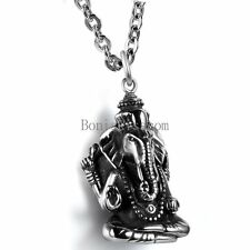 Black Silver Stainless Steel Casting Elephant Buddha Pendant Necklace for Men