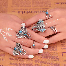 6pcs Silver Punk Vintage Elephant Ring Set Women Finger Rings Beach Party Spring