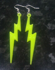 Novelty Neon Yellow Lightning Bolt Dangle Earrings Retro 80s Punk