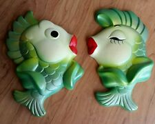 VINTAGE RETRO Miller Studio Inc. CHALK WARE 1967 Kissing FISH pair