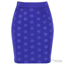 Stella McCartney Cobalt Blue Polka Dot Embossed Scuba-Jersey Mini Skirt IT40 UK8