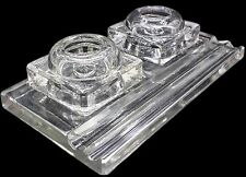 CUSHMAN DENISON Art Deco Ink Stand Double Inkwell Crystal Glass Pen Holder Tray