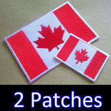 2 x Canada Canadian Flag ( Large + Small ) Iron On Patch Embroidered Craft DIY