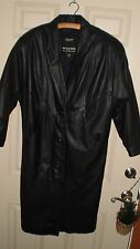 WILSONS Long Black Thinsulate LEATHER Trench Coat Jacket Womens Size PS