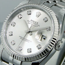 UNWORN ROLEX 116234 DATEJUST 36 mm MENS STEEL JUBILEE BRACELET SILVER DIAMOND