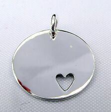 Sterling  Silver  (925)   Heart  Disc   Pendant  !!       Brand  New !