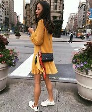 BNWT ZARA Plumetis Dress, Mustard Yellow size S, BLOGGERS RARE