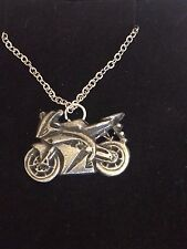 """MOTORBIKE DR53 Made From Fine Pewter On 24"""" Silver Plated Curb Necklace"""