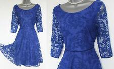 *MONSOON*Blue Lace Scoop Neckline Skater Party Cocktail Dress sz-12 EU-40 £89