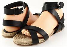 RALPH LAUREN Collection MAIRA Black Natural Designer Strappy Sandals 8.5 $295