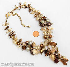 Chico's Signed Necklace Gold Tone Chain Bronze Purple Amber Color Bead Clusters