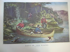 """Vintage Currier & Ives America Color Print, Life In The Woods """"Starting Out"""""""