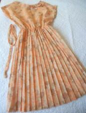 VINTAGE 1950'S 1960'S TETREX APRICOT ORANGE FLOWER PRINT PLEAT SKIRT DRESS XSSW
