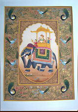MOGHUL QUEEN PROCESSION SCENE ON ELEPHANT MINIATURE PAINTING FROM INDIA!