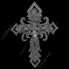 "Rhinestone Transfer "" Twisted Crystal Cross "" Hotfix, Iron On, Religious"